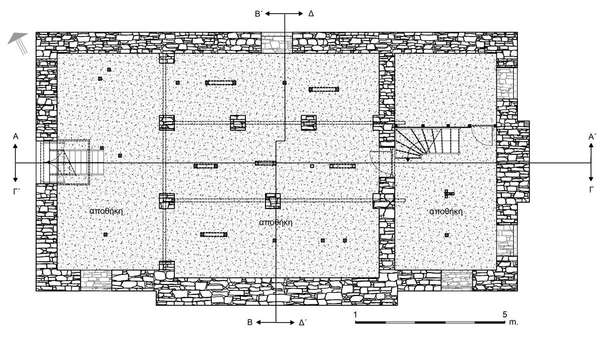Εικ. 11. Η κάτοψη  του ημιυπογείου. Υπάρχουσα κατάσταση. (Σχέδιο Θ. Μακρή-Σκοτινιώτη)