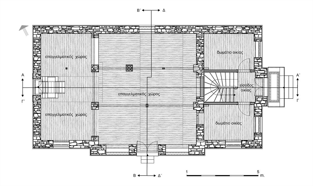 Εικ. 12. Η κάτοψη του ισογείου. Υπάρχουσα κατάσταση. (Σχέδιο Θ. Μακρή-Σκοτινιώτη)