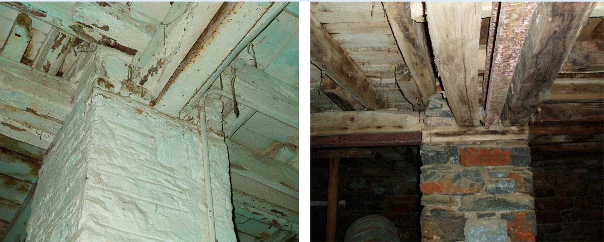 Εικ. 14. Η στήριξη των πατωμάτων του ισογείου και του ορόφου με μεταλλικές δοκούς.