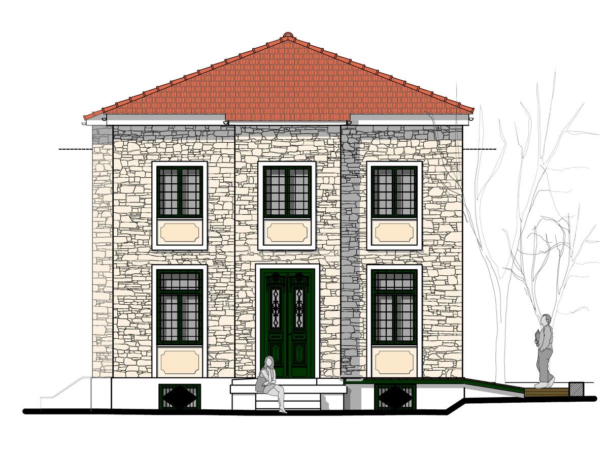 Εικ. 25. Η ανατολική όψη της οικίας. Πρόταση. (Σχέδιο Θ. Μακρή-Σκοτινιώτη)