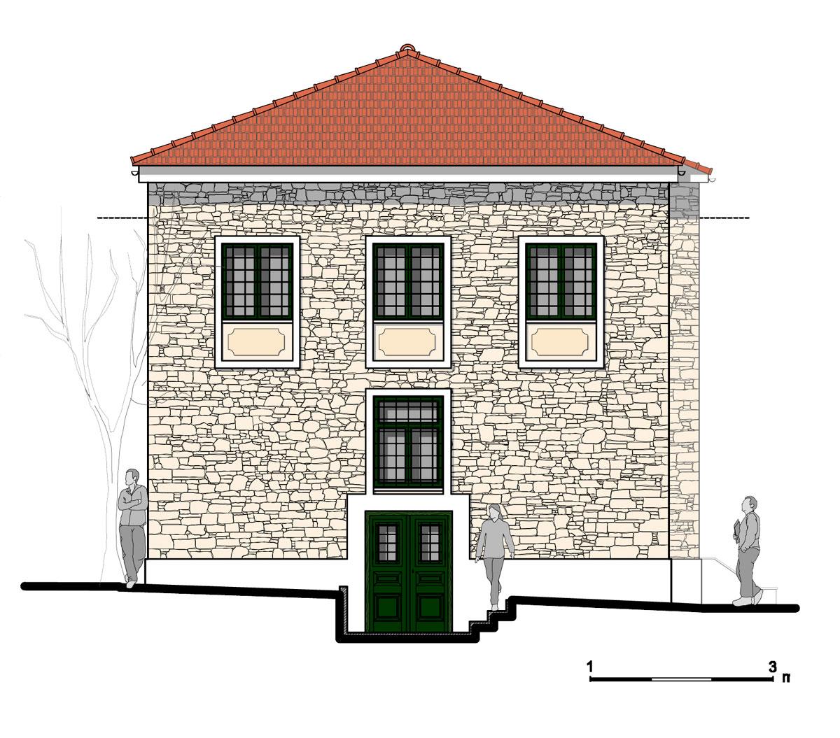Εικ. 26. Η δυτική όψη της οικίας. Πρόταση. (Σχέδιο Θ. Μακρή-Σκοτινιώτη)