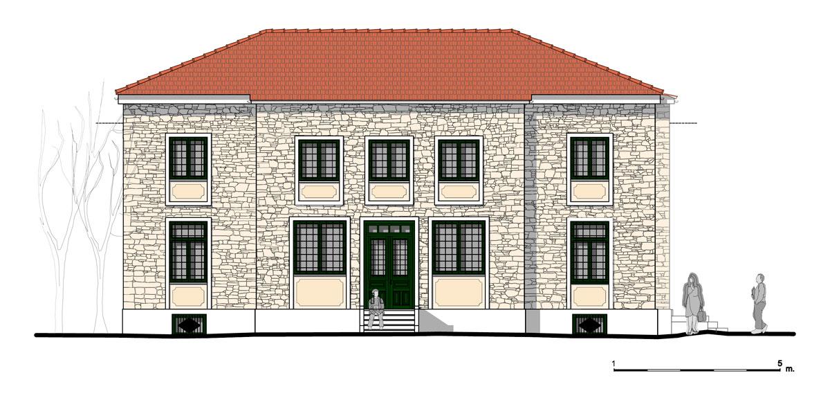 Εικ. 27.  Η νότια όψη της οικίας. Πρόταση. (Σχέδιο Θ. Μακρή-Σκοτινιώτη)