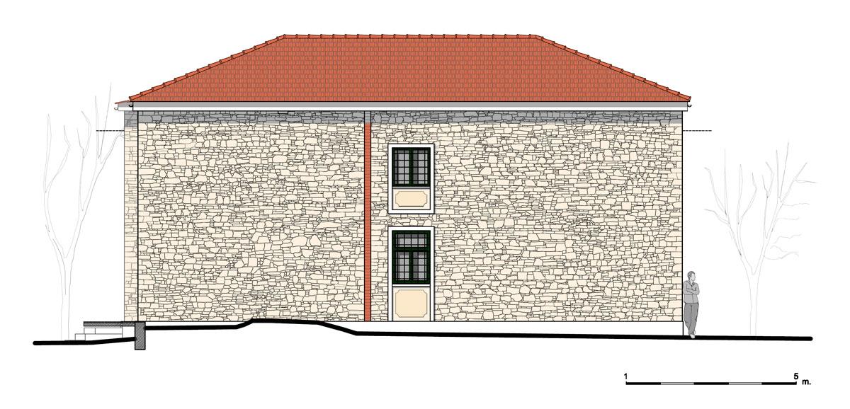 Εικ. 28. Η βόρεια όψη της οικίας. Πρόταση. (Σχέδιο Θ. Μακρή-Σκοτινιώτη)