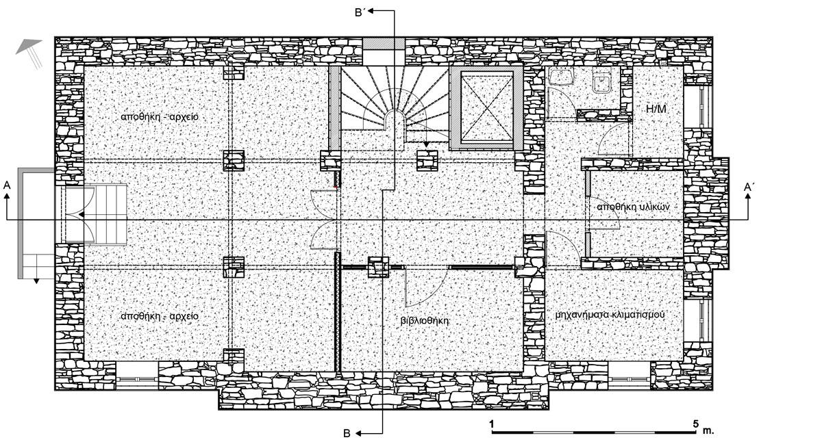 Εικ. 29. Η κάτοψη του ημιυπογείου. Πρόταση. (Σχέδιο Θ. Μακρή-Σκοτινιώτη)