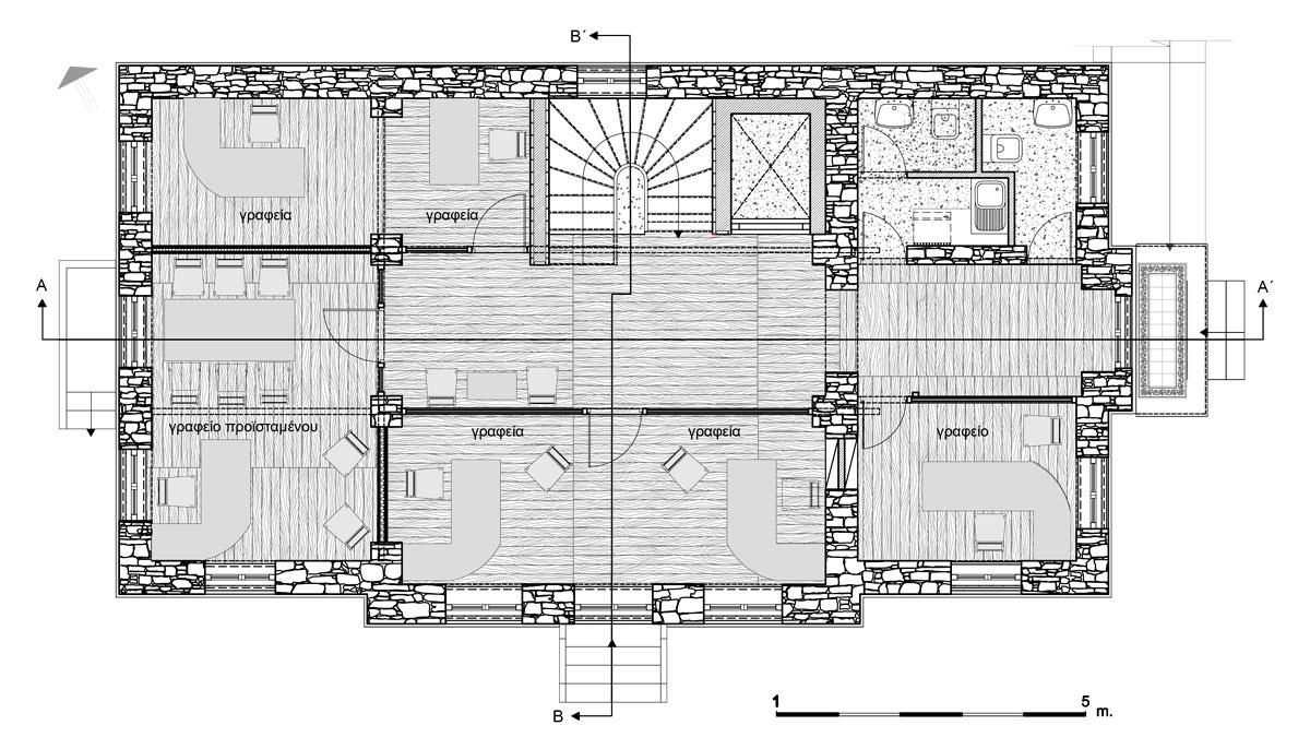 Εικ. 31. Η κάτοψη  του ορόφου. Πρόταση. (Σχέδιο Θ. Μακρή-Σκοτινιώτη)