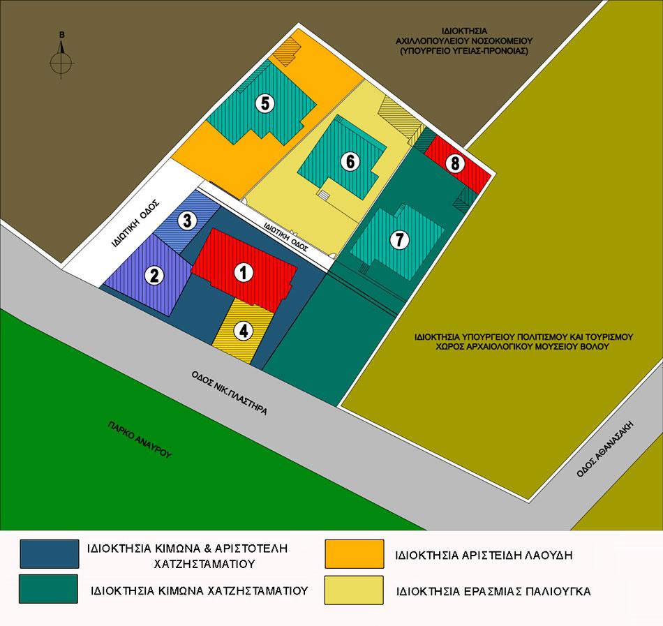 Εικ. 5. Tα κτίσματα και το ιδιοκτησιακό καθεστώς το έτος 2002 (Σχέδιο Θ. Μακρή – Σκοτινιώτη)