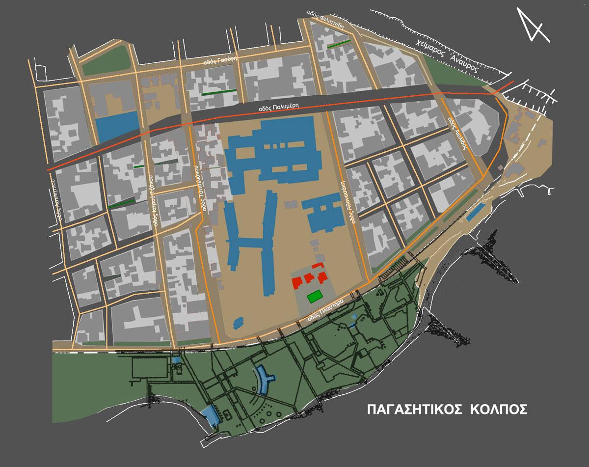 Εικ. 7. Η ευρύτερη περιοχή μετά την επιχωμάτωση και τη διαμόρφωσή της  σε γραμμικό πάρκο. (Σχέδιο Θ. Μακρή – Σκοτινιώτη)