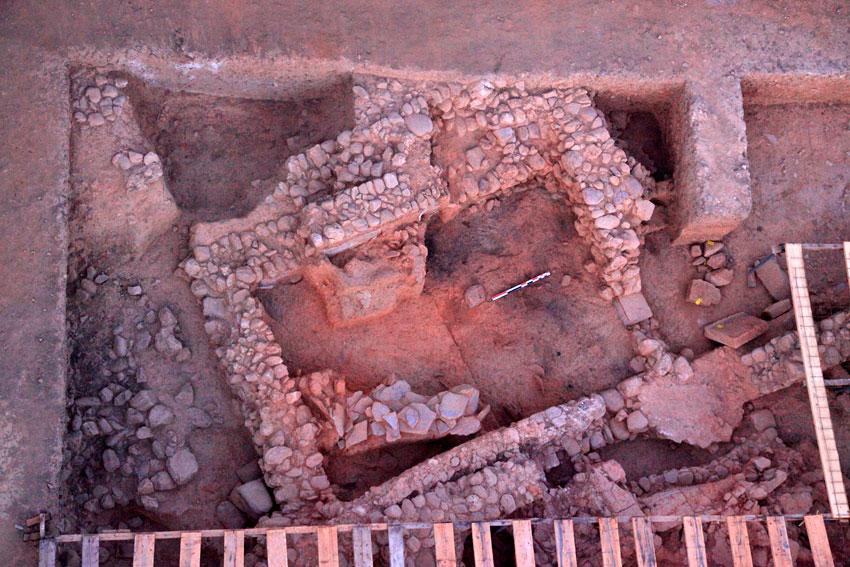 Άγιος Βασίλειος Ξηροκαμπίου: Το δωμάτιο Α10, από αέρος (ανασκαφή 2012).