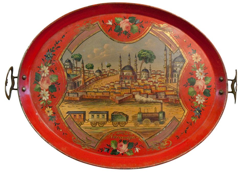Δίσκος με άποψη της Αδριανούπολης, με ατμομηχανή σε πρώτο πλάνο. Τέλη 19ου αιώνα, για την ελληνική και την οθωμανική αγορά. Συλλογή Ελευθεριάδη.