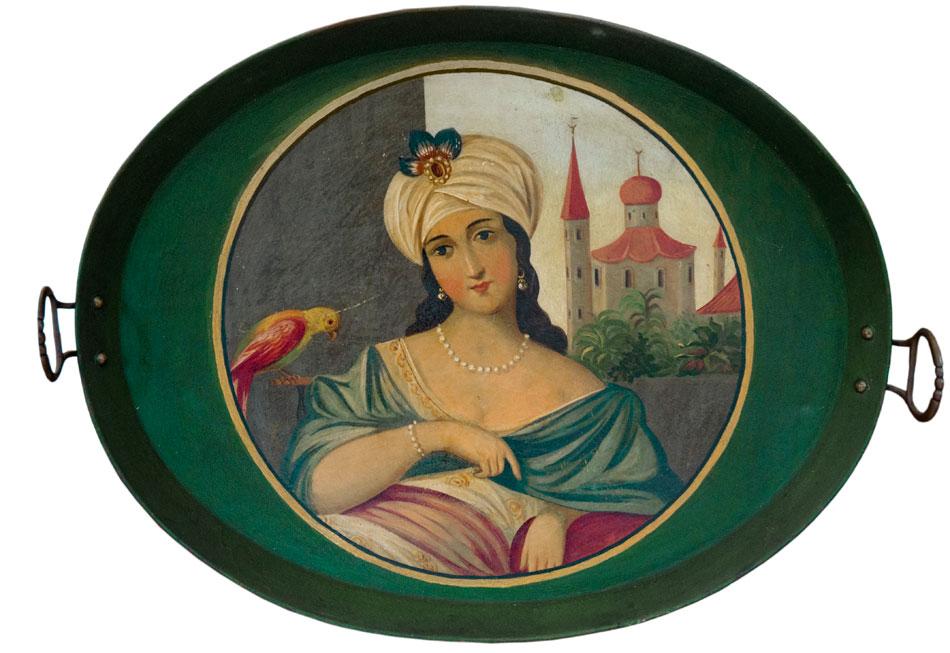 Δίσκος με γυναίκα με τουρμπάνι και κόκκινο παπαγάλο. Μέσα 19ου αιώνα, για την ελληνική και την οθωμανική αγορά. Συλλογή Ελευθεριάδη.