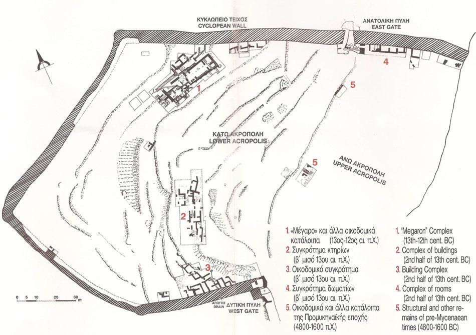 Σχέδιο του αρχαιολογικού χώρου της Μιδέας.