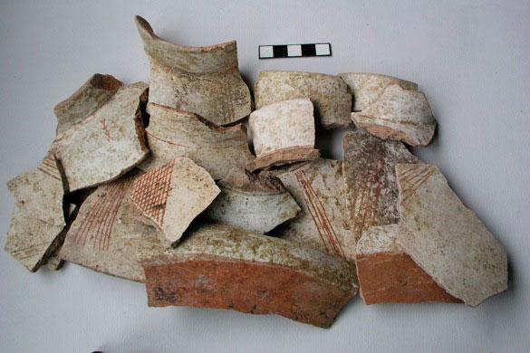 Εικ. 12. Τμήματα από αγγεία με ασβεστώδες επίχρισμα, Nεότερη Nεολιθική περίοδος.