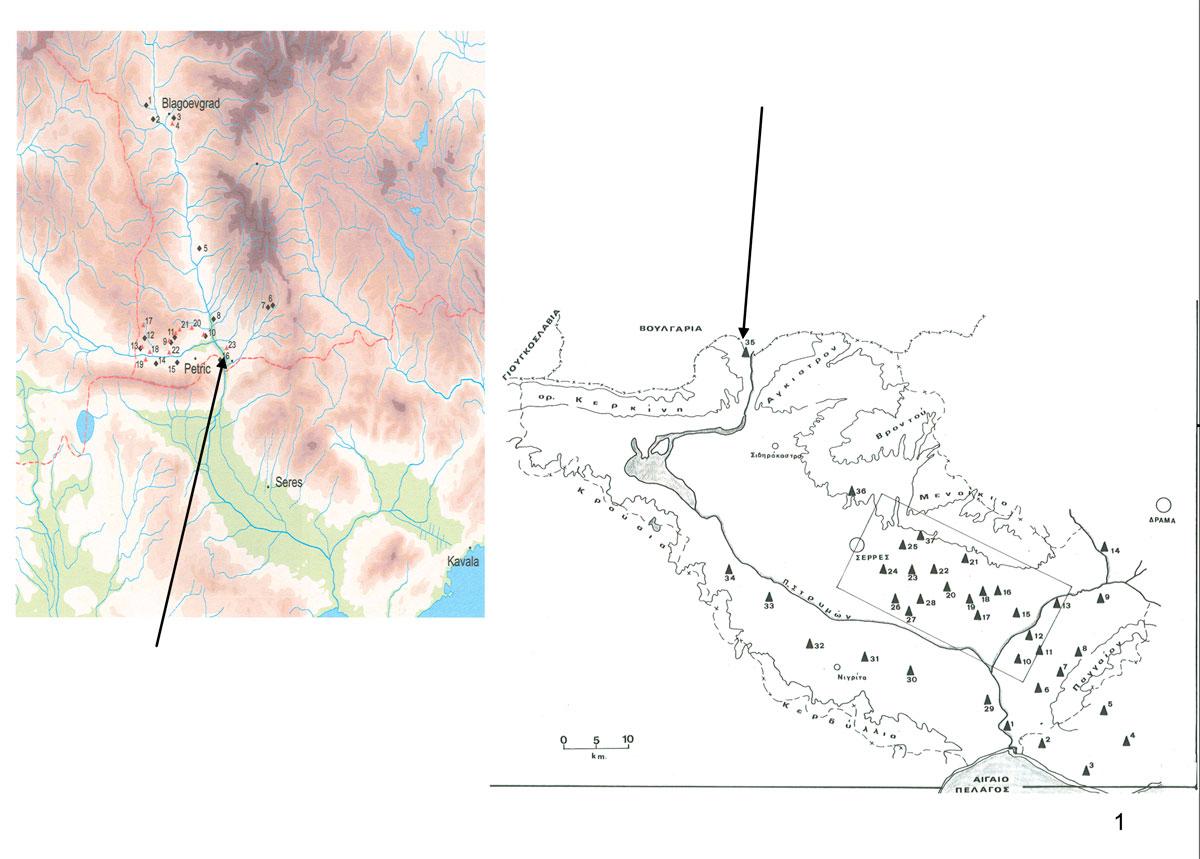 Εικ. 1. Χάρτης στον οποίο φαίνεται η πυκνότητα των νεολιθικών οικισμών στην κοιλάδα του Στρυμόνα και σημειώνεται η θέση του οικισμού «Προμαχών-Τοpolnica».
