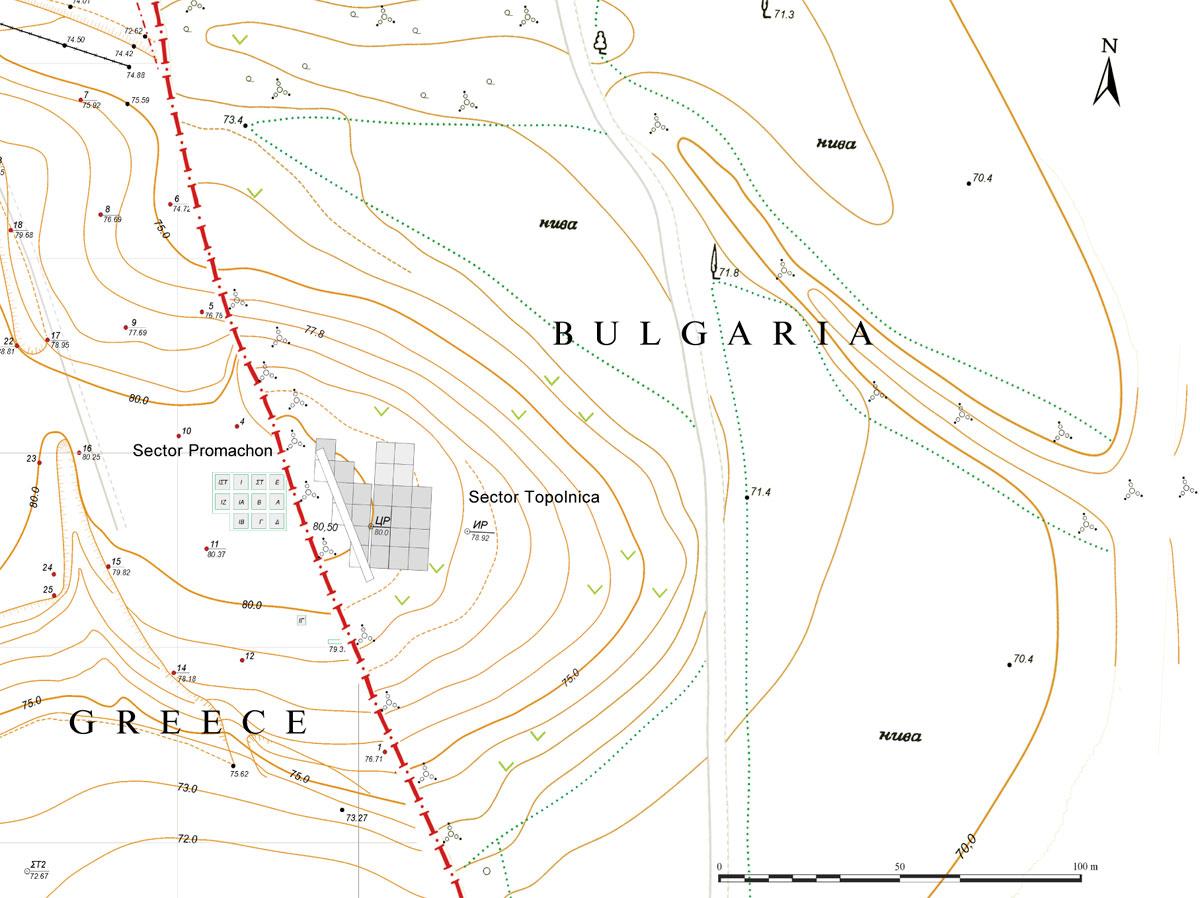 Εικ. 2. Οι δύο ανασκαφικοί τομείς, ο ελληνικός και ο βουλγαρικός, κατά τη διάρκεια των ερευνών, την περίοδο 1992-2003.