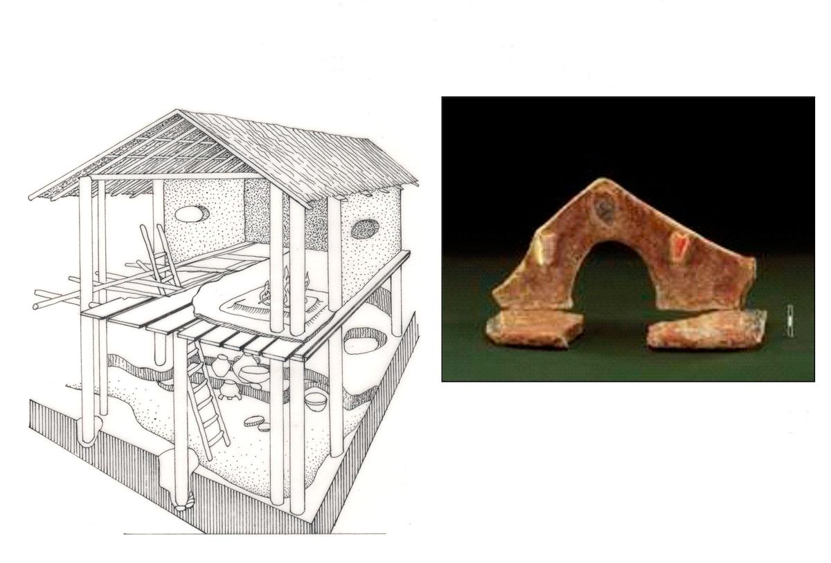 Εικ. 5. Τα κτιριακά κατάλοιπα του κτιρίου 2 και τα ίχνη μεγάλων ξύλινων πασσάλων σε άλλα κτίρια δείχνουν πως μερικά από τα σπίτια της οικιστικής περιόδου 1 πρέπει να ήταν διώροφα.