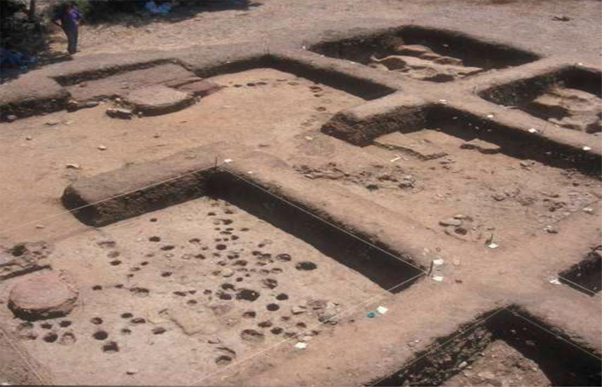 Εικ. 9. Πασσαλόπηκτα κτίσματα με πήλινες εστίες και έδρανα στο εσωτερικό τους.