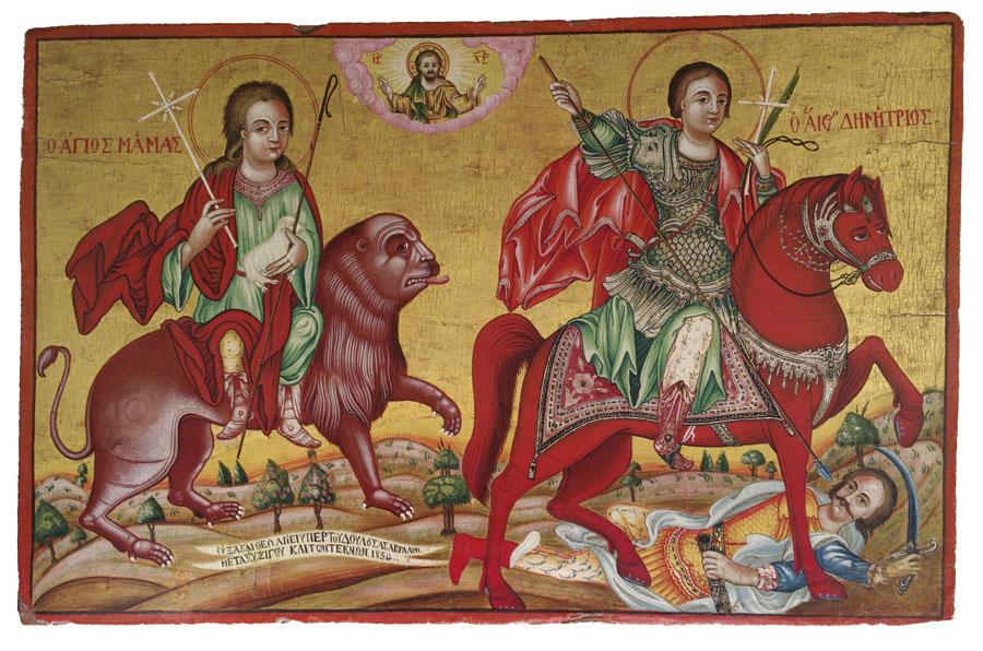 Οι άγιοι Μάμας και Δημήτριος, 19ος αι. Ναός Αγίας Βαρβάρας, Αγία Βαρβάρα, Κύπρος.