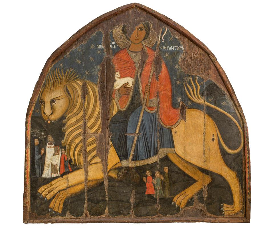 Ο άγιος Μάμας, 1500. Ίδρυμα Αρχιεπισκόπου Μακαρίου Γ΄, Βυζαντινό Μουσείο και Πινακοθήκη, από τον ναό Παναγίας Χρυσαλινιώτισσας, Λευκωσία, Κύπρος.