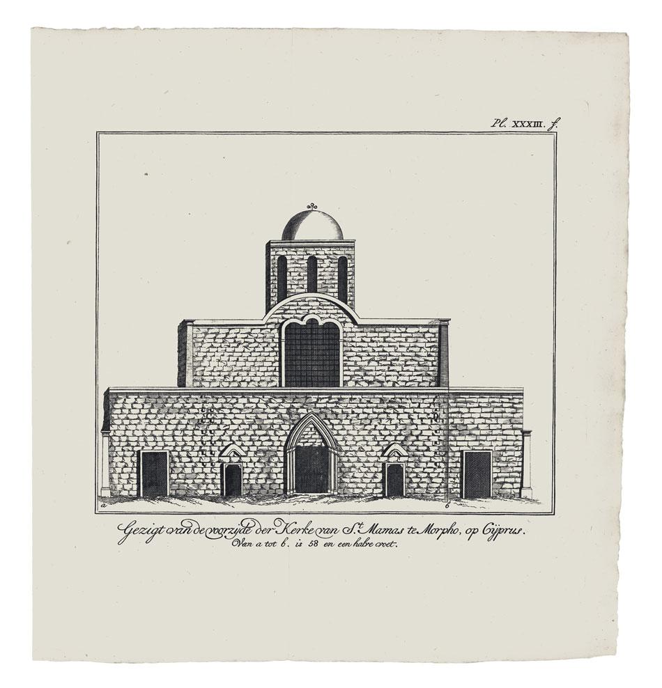 Αlexander Drummond, άποψη του ναού του Αγίου Μάμαντος στη Μόρφου από τα δυτικά, χαλκογραφία, 1778. Επισκοπείο Μητροπόλεως Μόρφου, Ευρύχου, Κύπρος.