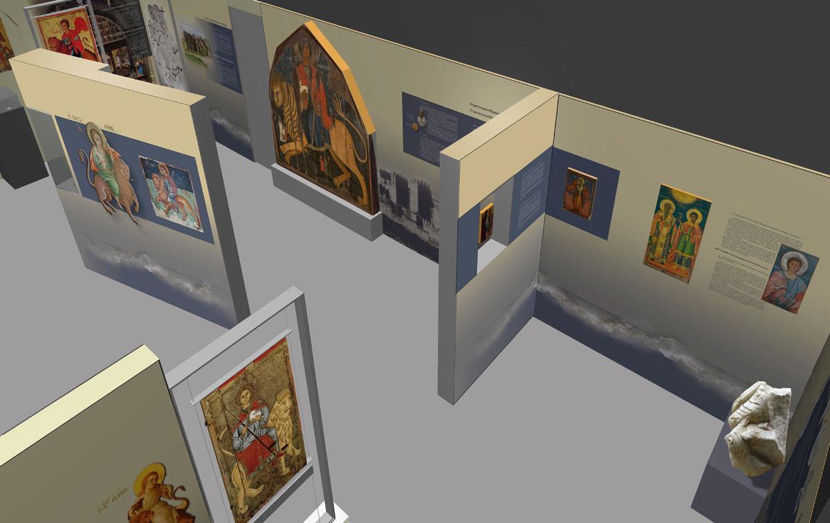 Άποψη της έκθεσης «Η Τιμή του Αγίου Μάμαντος στη Μεσόγειο: Ένας ακρίτας άγιος ταξιδεύει» στο Μουσείο Βυζαντινού Πολιτισμού.