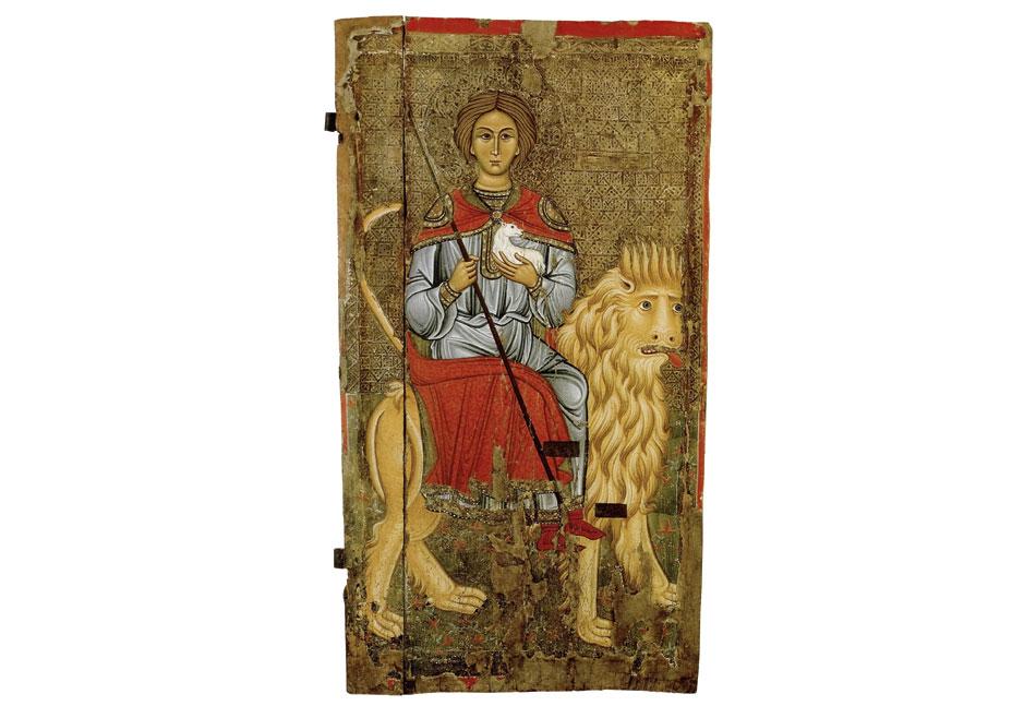 Ο άγιος Μάμας, 13ος-14ος αι. Ναός Παναγίας Καθολικής, Πελέντρι, από τον ναό Αγίου  Μάμαντος, Αμίαντος, Κύπρος.