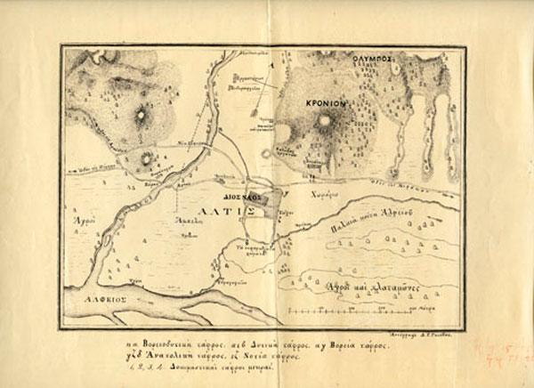 Τοπογραφικό αρχαίας Ολυμπίας. Διαστάσεις: 34x27 εκ. (φωτ. Διεύθυνση Εθνικού Αρχείου Μνημείων).