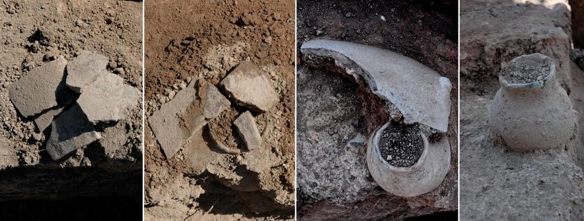 Εικ. 12. Στάδια της αποκάλυψης ενός ταφικού αγγείου.