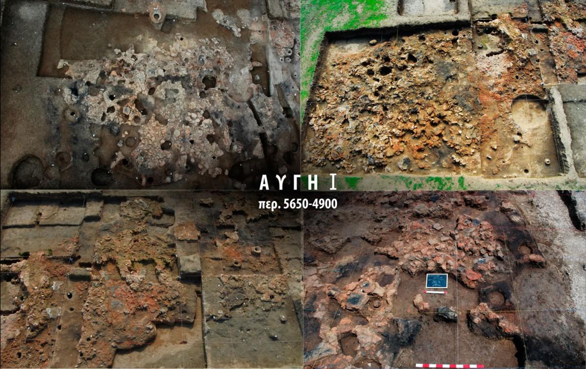 Εικ. 9. Κατάλοιπα καμένων κτιρίων της φάσης ΑΥΓΗ Ι στον Ανατολικό και Δυτικό Τομέα των ανασκαφών.