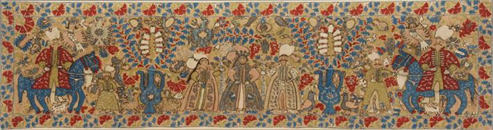 Πυκνοκεντημένο νυφικό μαξιλάρι με απεικόνιση σκηνής από τη γαμήλια πομπή. Ιωάννινα, 17ος-18ος αι. (αρ. ευρ. 8269). © Μουσείο Μπενάκη, Αθήνα.