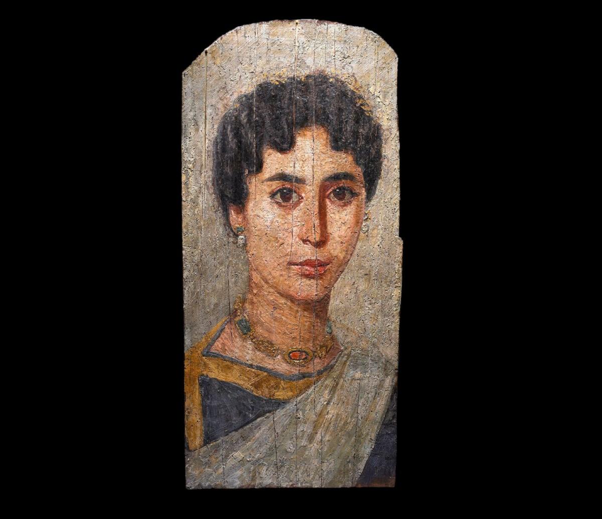 Εικ. 1. Κοιμητηριακή τέχνη. Νεκρικό προσωπείο φαγιούμ. Βρετανικό Μουσείο, Λονδίνο.