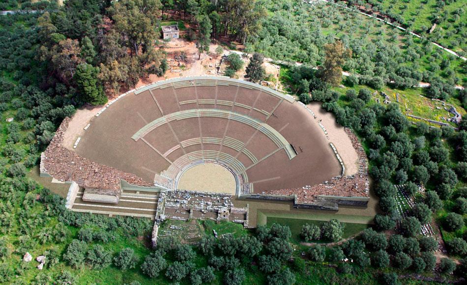 Φωτορεαλιστική απεικόνιση της αποκατάστασης του αρχαίου θεάτρου της Σπάρτης (φωτ. ΑΠΕ-ΜΠΕ).