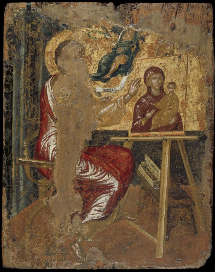 Ο Άγιος Λουκάς ζωγραφίζει την Παναγία Οδηγήτρια. Ενυπόγραφο έργο του Δομήνικου Θεοτοκόπουλου (El Greco, 1541-1614), από την κρητική του περίοδο. 1560-67. 0,41x0,33 μ. Δωρεά Δημητρίου Σισιλιάνου. Μουσείο Μπενάκη (ΓΕ 11296).