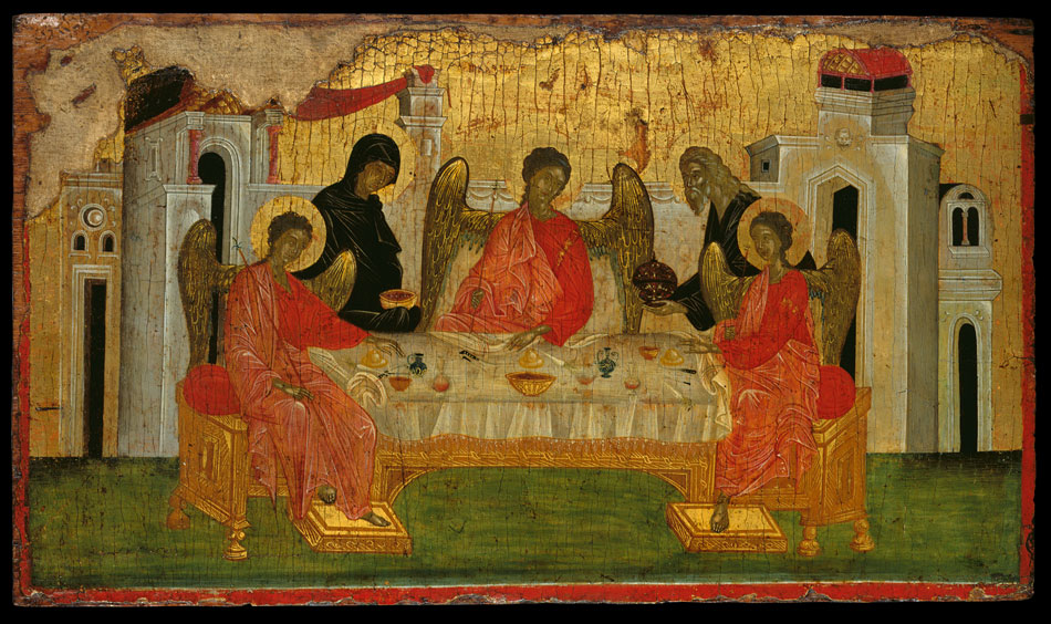 Η Φιλοξενία του Αβραάμ, συμβολική απεικόνιση της Αγίας Τριάδας, που συνδέεται με καλό εργαστήριο της Κωνσταντινούπολης. Τελευταίο τέταρτο του 14ου αι. 0,36x0,62 μ. Μουσείο Μπενάκη (ΓΕ 2973).