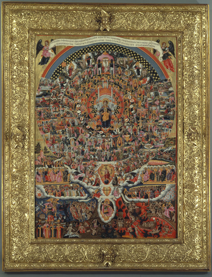 Ο Ύμνος προς την Παναγία «Eπί Σοι χαίρει», πολυσύνθετη, ενυπόγραφη εικόνα του Kρητικού ζωγράφου Θεόδωρου Πουλάκη (1620-1692). H εικόνα προέρχεται από την Kέρκυρα και επιβεβαιώνει την παραγωγική παρουσία του κρητικού ζωγράφου στο νησί των Iονίων. Β' μισό 17ου αι. 0,92x0,64 μ. Μουσείο Μπενάκη (ΓΕ 3008).