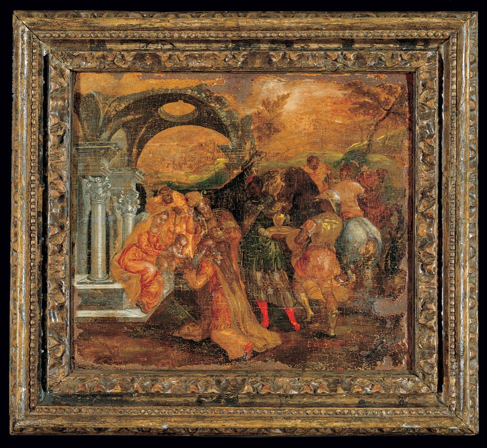 Η Προσκύνηση των Mάγων, ενυπόγραφη δημιουργία της κρητικής περιόδου του Δομήνικου Θεοτοκόπουλου (El Greco, 1541-1614). 1565-1567. 0,56x0,62 μ. Μουσείο Μπενάκη (ΓΕ 3048).