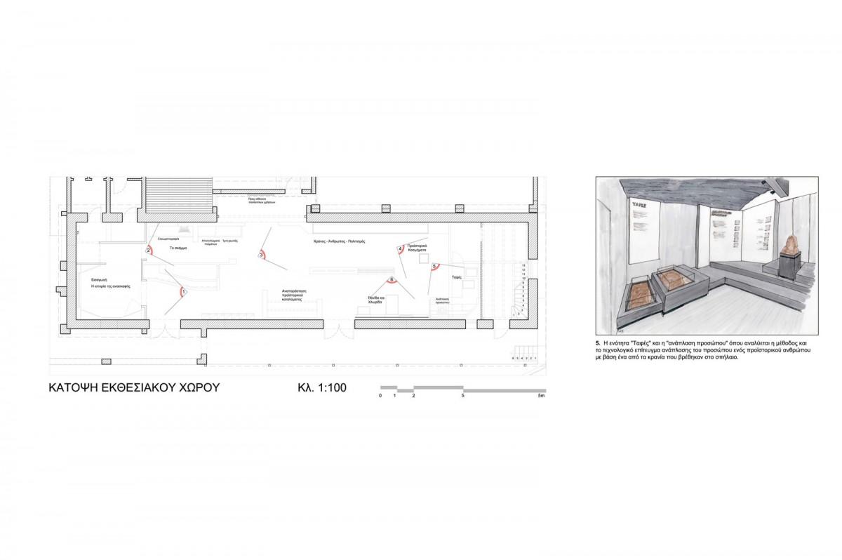 Εικ. 32. Κέντρο Θεόπετρας. Κάτοψη του εκθεσιακού χώρου και αναπαράσταση των μουσειογραφικών ενοτήτων.