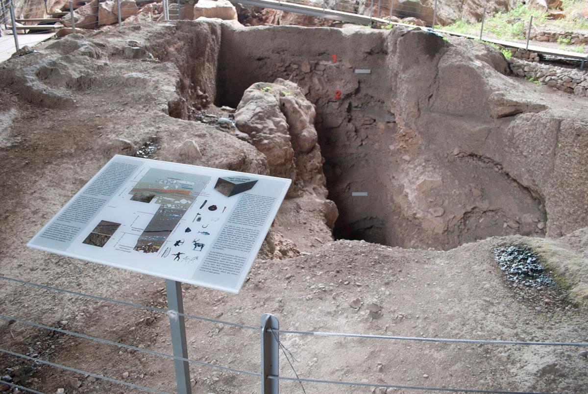 Εικ. 8. Σπήλαιο Φράγχθι. Επεξηγηματική πινακίδα της στρωματογραφίας μιας αντιπροσωπευτικής ανασκαφικής τομής.