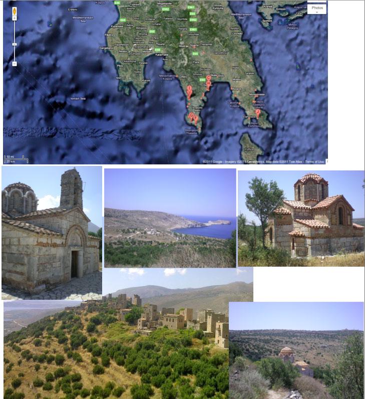 Εικ. 1. Γενική άποψη της περιοχής της Μάνης. Οικισμοί, βυζαντινές εκκλησίες.