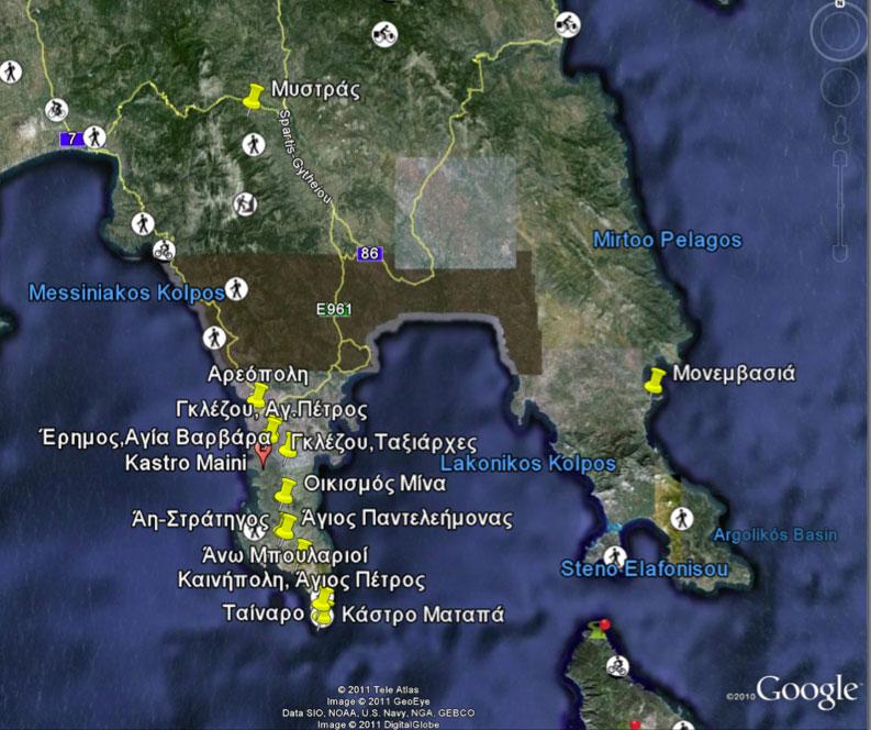 Εικ. 3. Θέσεις Βυζαντινών Ναών (πηγή: Google Earth).