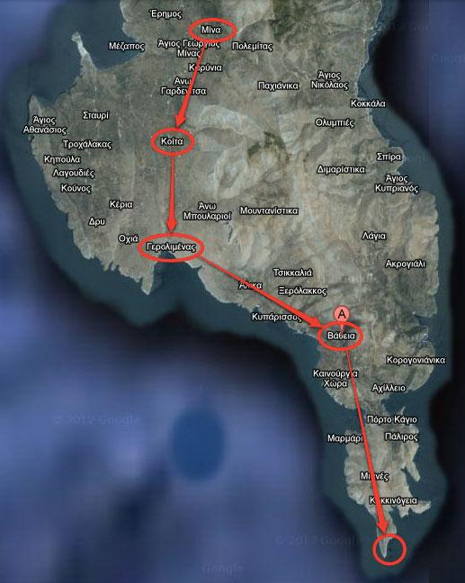Εικ. 6. Προτεινόμενη Πολιτιστική Διαδρομή 3, με αφετηρία τον παραδοσιακό οικισμό της Αρεόπολης και κατεύθυνση νοτιότερα προς τους παραδοσιακούς οικισμούς της Μέσα Μάνης με τη σειρά Μίνα (20 χλμ. από την Αρεόπολη), Κοίτα (45 χλμ. ΝΔ του Γυθείου, 4 χλμ. από τον Γερολιμένα), τον γραφικό Γερολιμένα, Βάθεια (35 χλμ. από την Αρεόπολη), το γραφικό χωριό Νόμια και να καταλήξει στο ακρωτήριο Ταίναρο.