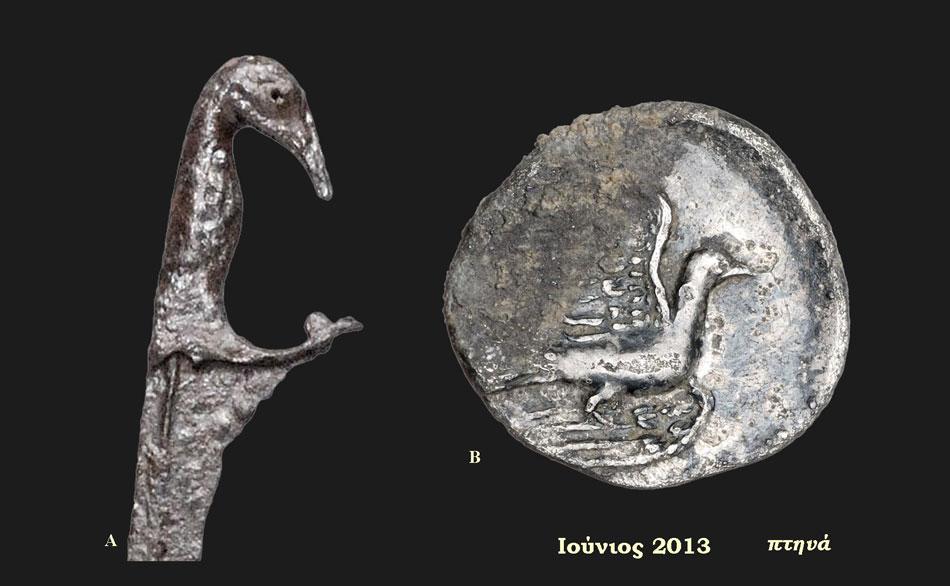A. Σιδερένιο ξίφος με πτηνόμορφη λαβή, 4ος αι. π.Χ., Προδρόμι. Β. Οπισθότυπος ασημένιου νομίσματος Σικυώνας: περιστέρι που ίπταται, ελληνιστική περίοδος, Ντόλιανη. Αρχαιολογικό Μουσείο Ηγουμενίτσας (Αίθουσα 2 – Ενότητα IΙΙ).