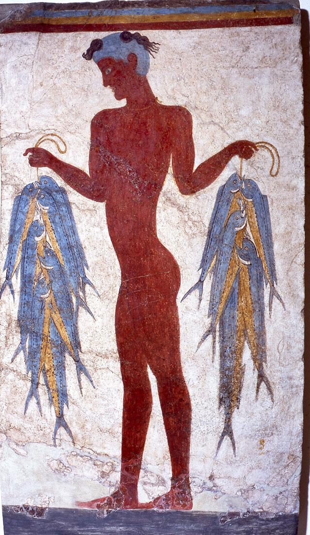 Τοιχογραφία ψαρά από το Ακρωτήρι Θήρας. 17ος-16ος αι. ΚΑ΄ ΕΠΚΑ, Αρχαιολογικό Μουσείο Θήρας (KA 5817).