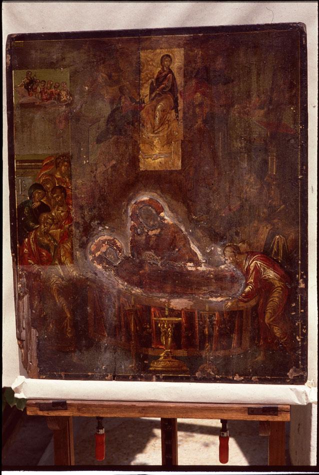 Εικ. 2. H εικόνα της «Κοίμησης της Θεοτόκου» του Θεοτοκόπουλου κατά τη διάρκεια της συντήρησης.