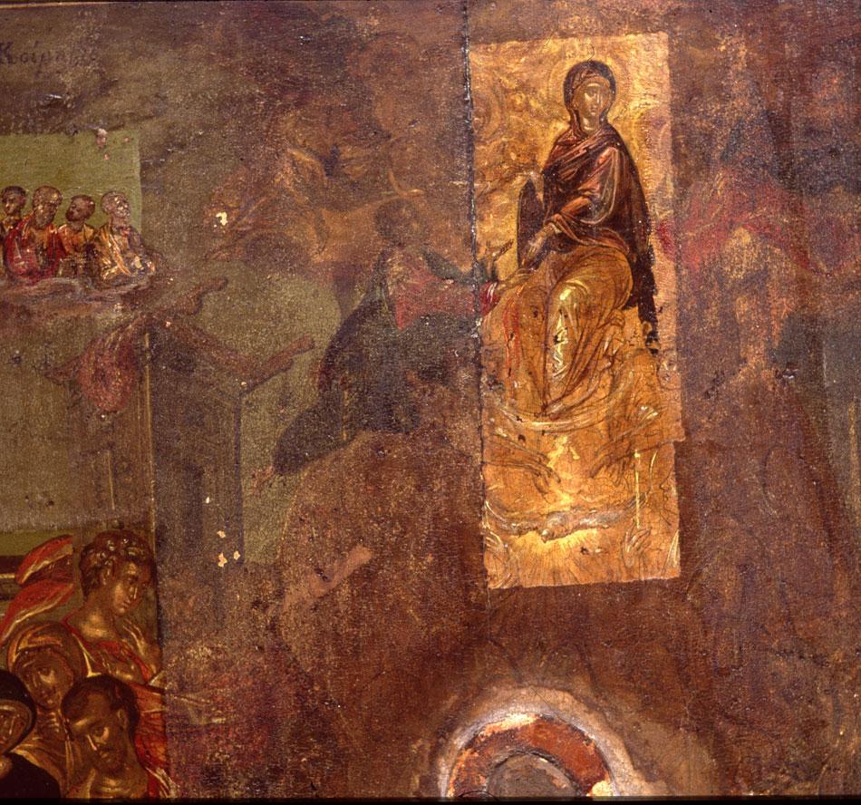 Εικ. 3. H εικόνα της «Κοίμησης της Θεοτόκου» του Θεοτοκόπουλου κατά τη διάρκεια της συντήρησης.
