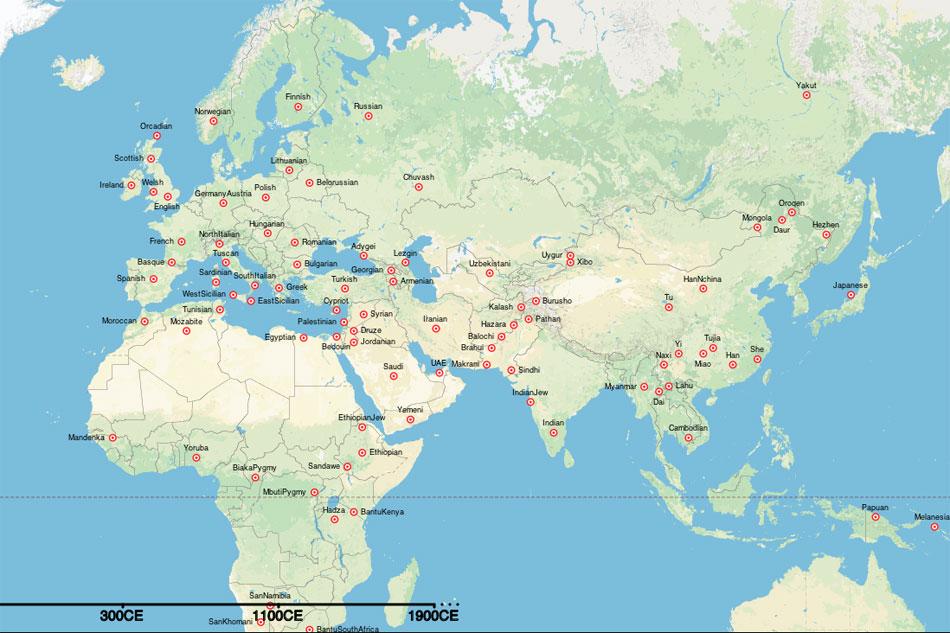 Οι ερευνητές του πανεπιστημίου της Οξφόρδης και του University College του Λονδίνου, καθώς και του Ινστιτούτου Εξελικτικής Ανθρωπολογίας Μαξ Πλανκ της Λειψίας βάσισαν τον «χάρτη» στην πλήρη συγκριτική ανάλυση του DNA 1.490 ανθρώπων από 95 πληθυσμούς από όλο τον κόσμο.