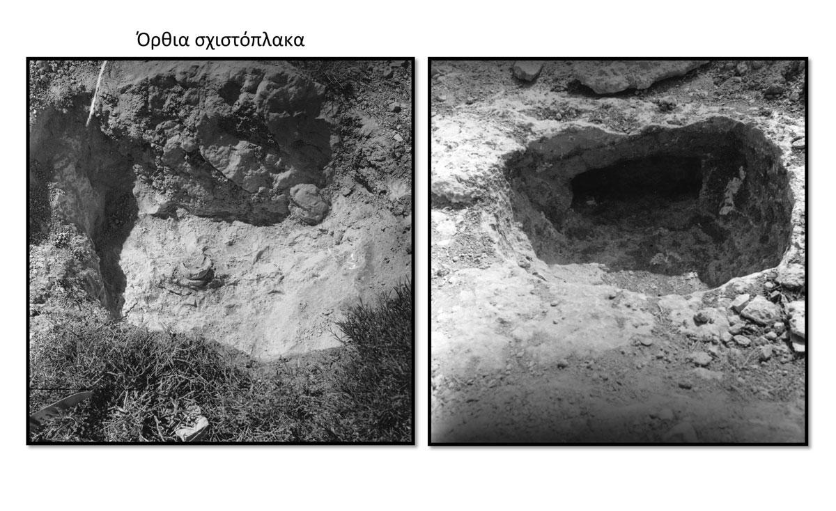 Τάφος στο Κάτω Κουφονήσι. Ο πρώτος λάκκος ήταν ένα είδος προθαλάμου και ο νεκρός βρισκόταν μέσα στον υπόσκαφο τάφο (πηγή φωτ. Ανασκαφική ομάδα των Κουφονησιών).