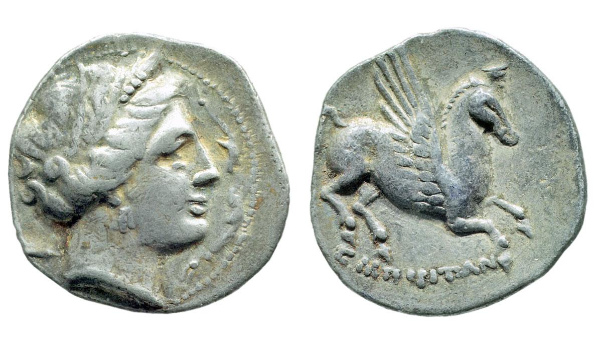 Εμπόριον (Empúries), Ισπανία. Αργυρή δραχμή, μετά το 218 π.Χ. Νομισματική Συλλογή Alpha Bank.