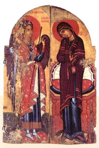 Βημόθυρο με τον Ευαγγελισμό, τελευταίο τέταρτο 15ου αι. Βυζαντινό Μουσείο Καστοριάς (© Υπουργείο Πολιτισμού και Αθλητισμού).