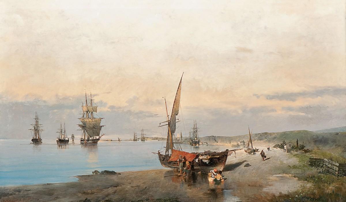 «Πλοία κοντά στην ακτή», έργο του Κωνσταντίνου Βολανάκη. Λεβέντειος Πινακοθήκη, Λευκωσία.