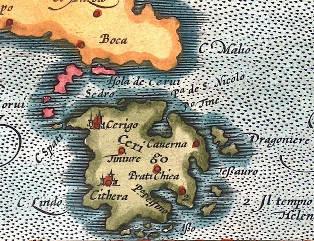 Εικ. 5. Παλαιός χάρτης των Κυθήρων (από τον ιστότοπο της Αργολικής Αρχειακής Βιβλιοθήκης Ιστορίας και Πολιτισμού).